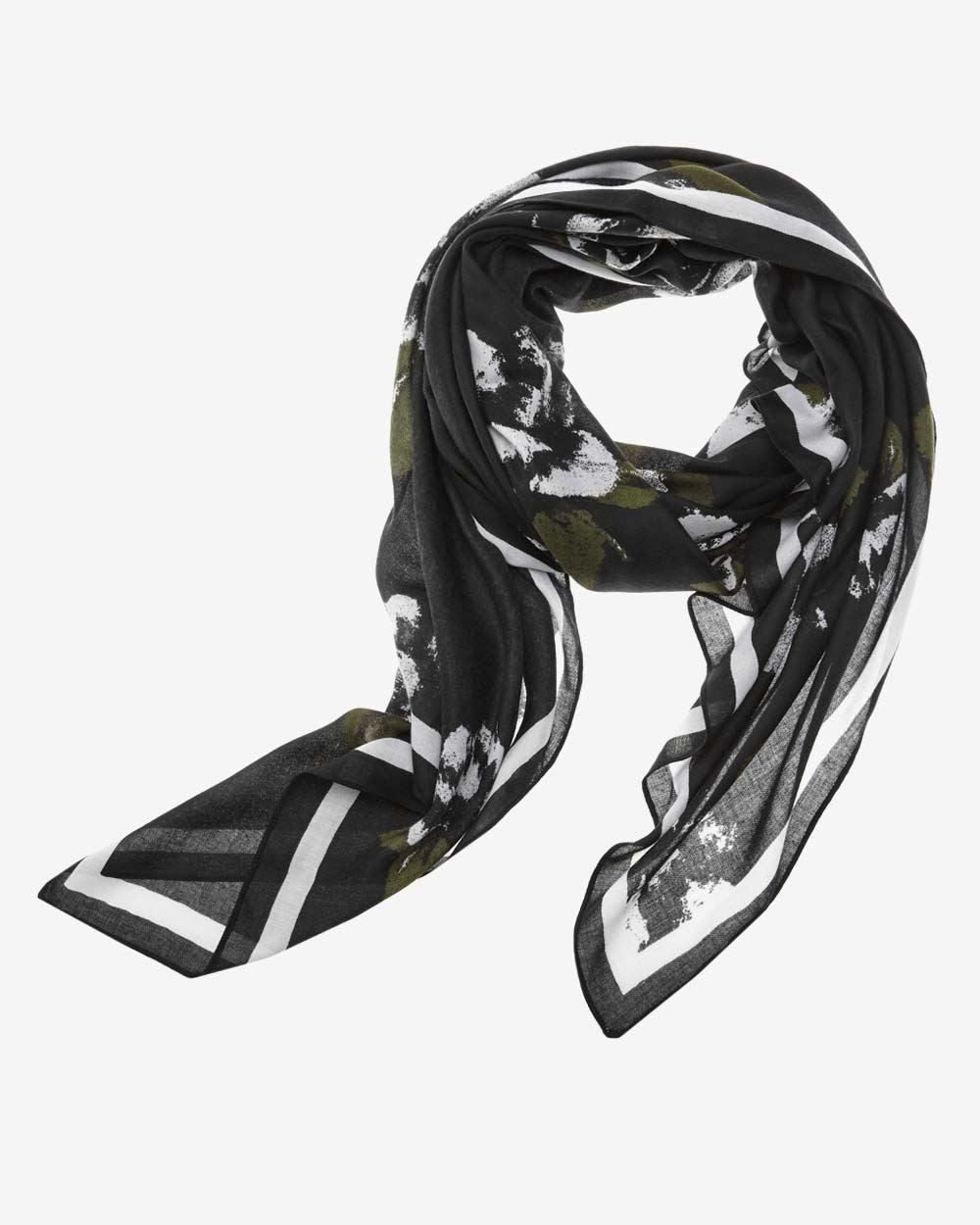 Black and white floral scarf | RW&CO.