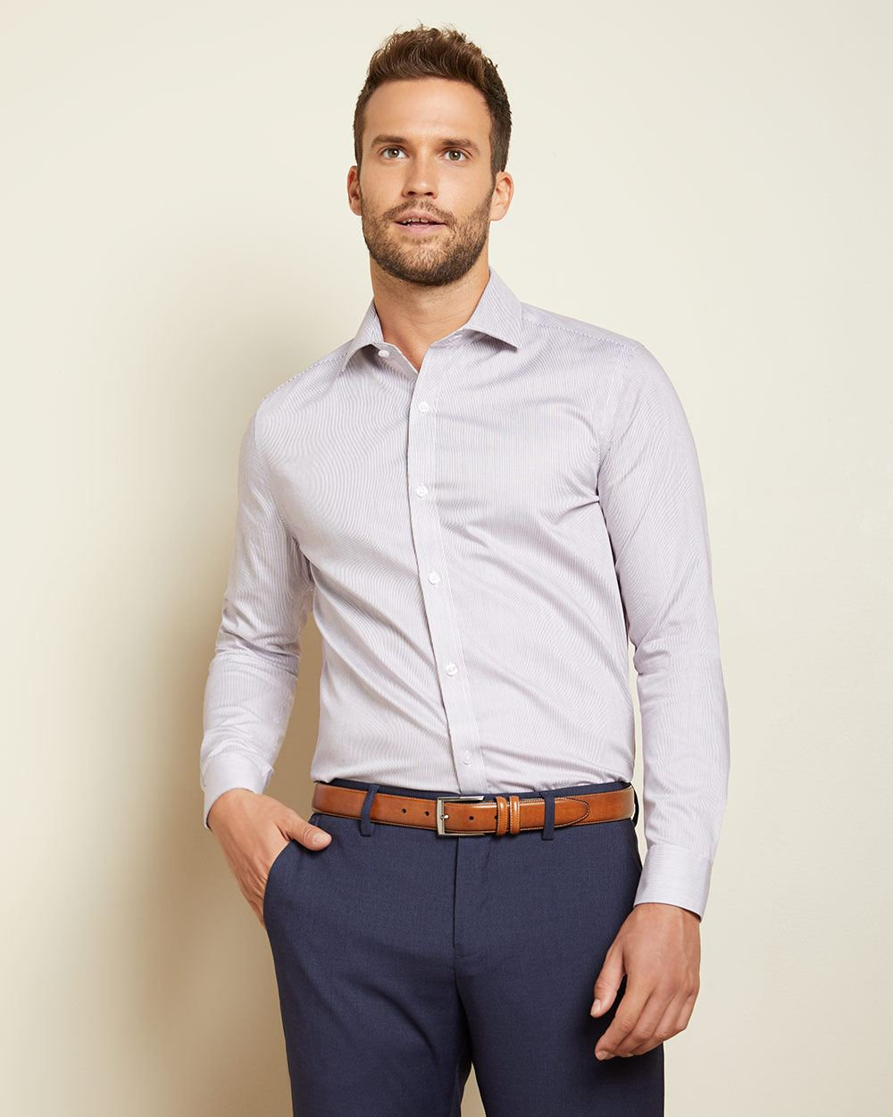 Tailored fit multicoloured stripes dress shirt