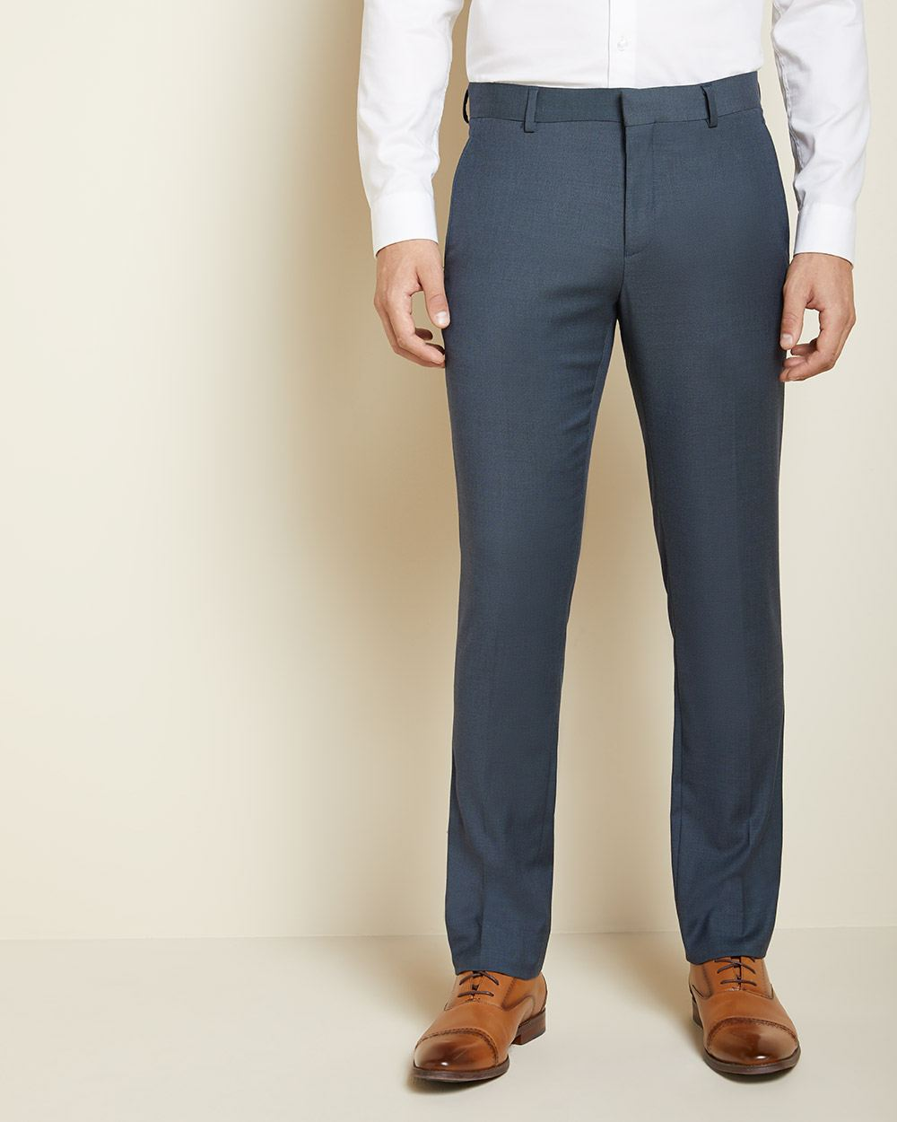 Tailored Fit Teal blue suit pant with COOLMAX(TM) technology
