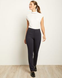 Solid Curvy Fit Slim Leg Pant