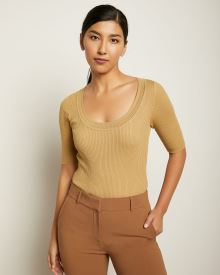 Fitted Ribbed Sweater with Scoop Neck