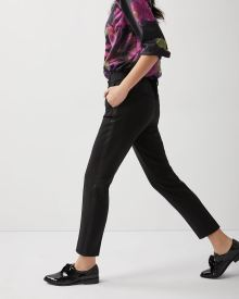 Satin trimmed Slim leg ankle pant