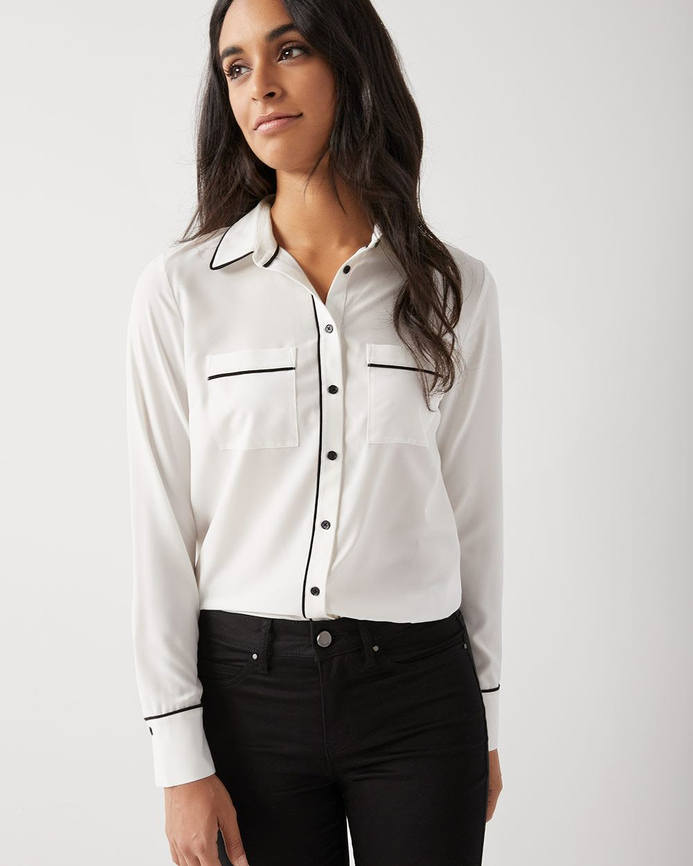 Long sleeve stretch button-down blouse with piping