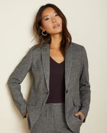 Long Fitted grey tweed blazer