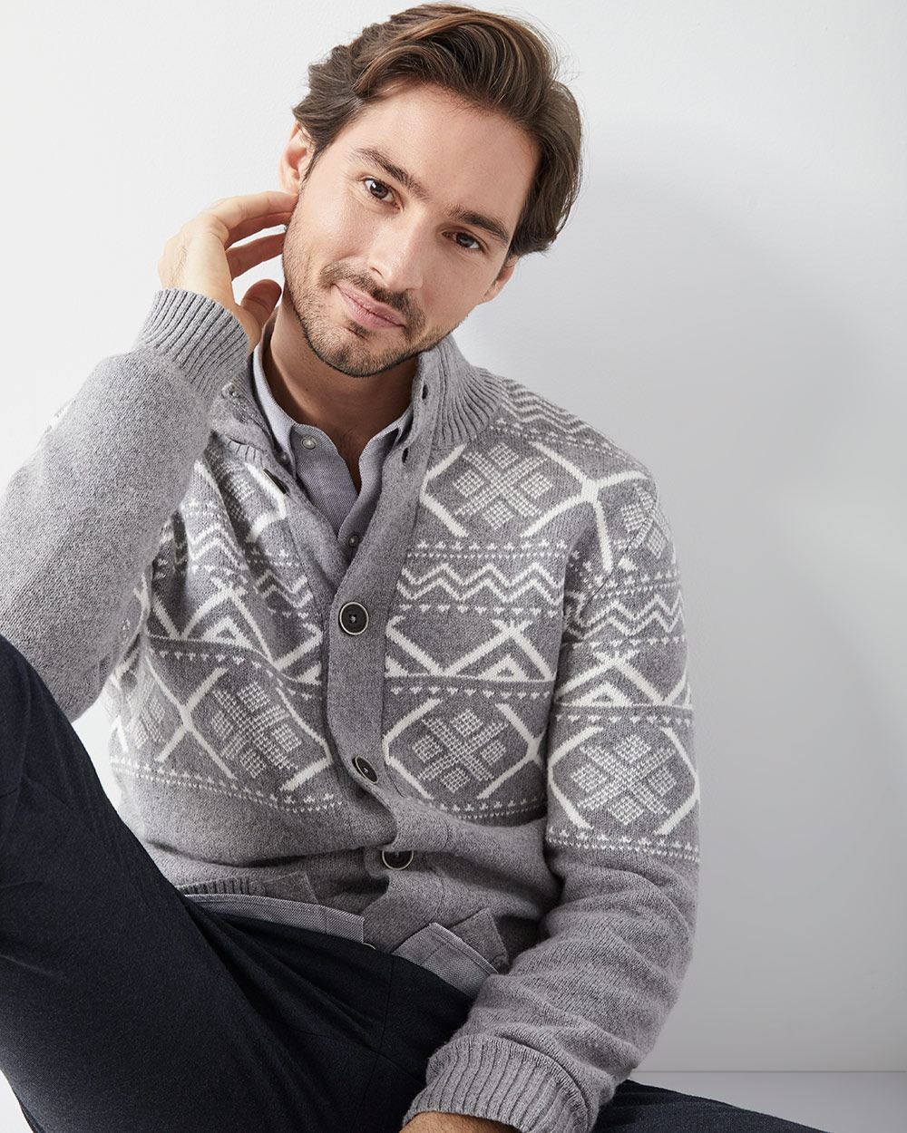 Fair isle cardigan with mock-neck