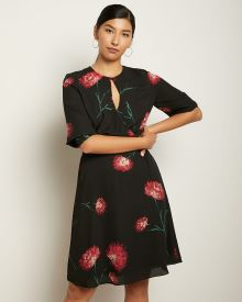 Floral Silky Crepe Wrap Front Dress