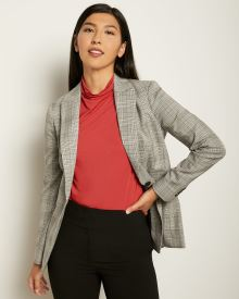 Long Fitted Grey Check Blazer