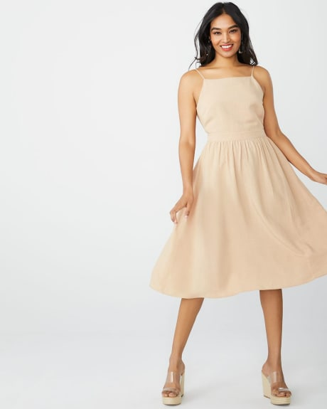 Fit and flare linen-blend dress