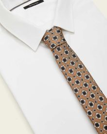Regular Beige Geo Pattern Tie