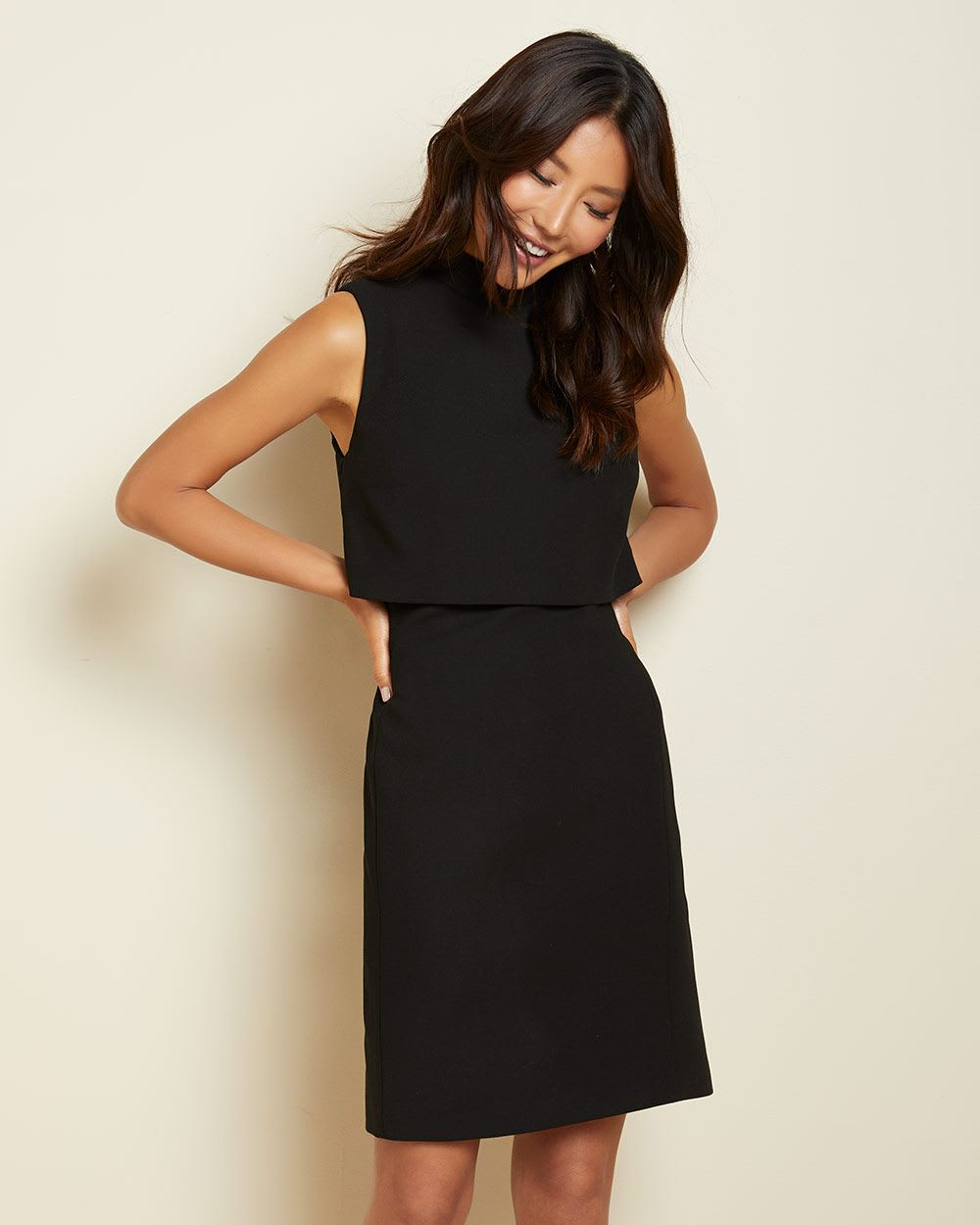Black Popover Crop Sheath Dress