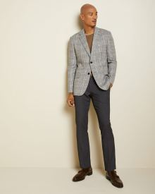 Tailored fit checkered twisted yarn suit blazer