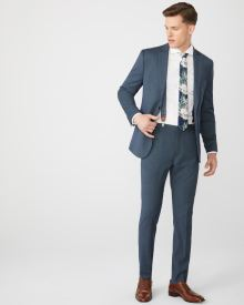 Slim Fit Teal blue suit pant with COOLMAX(TM) technology