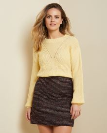 Hairy knit cable stitch sweater