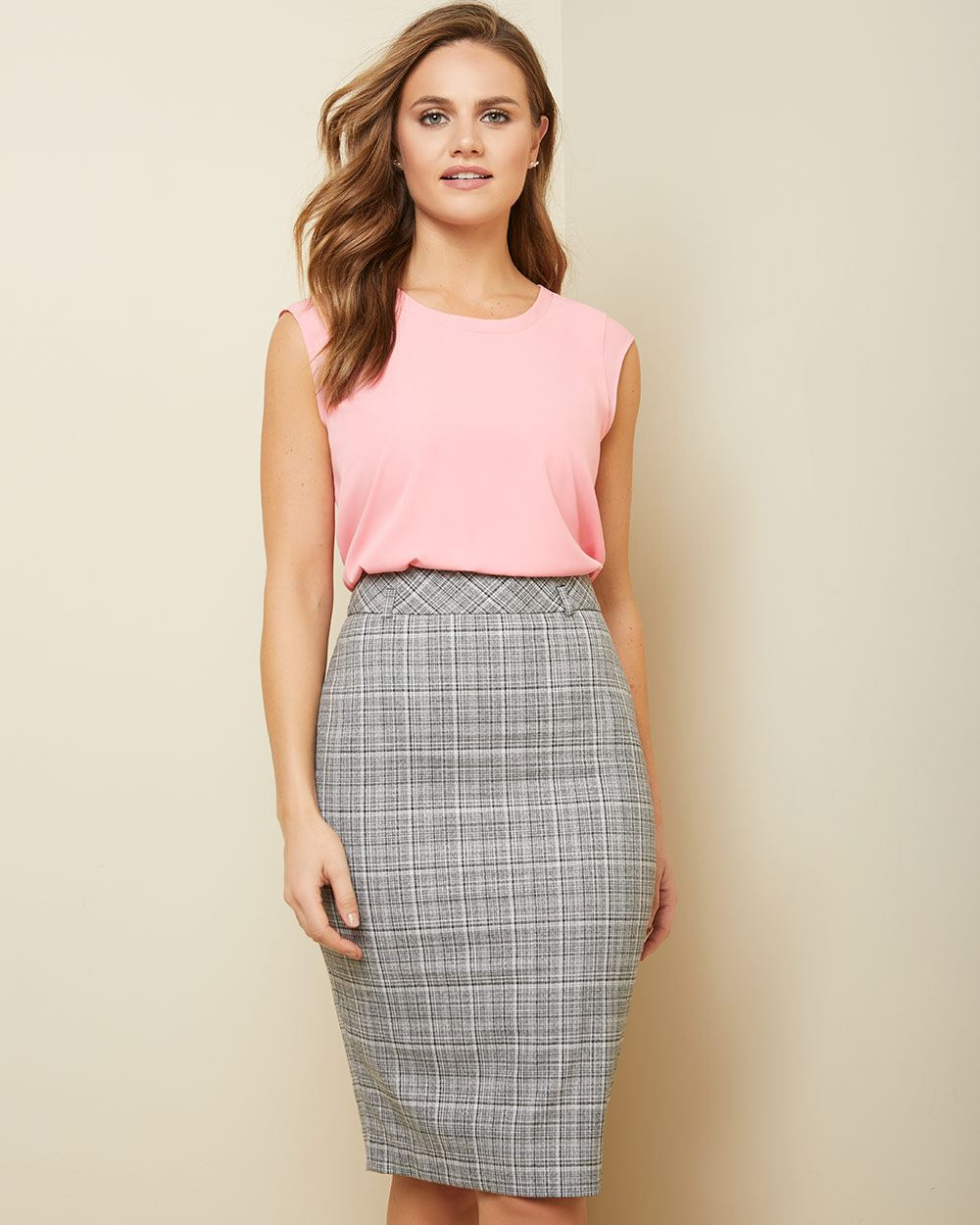 Textured plaid High-waist pencil skirt