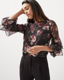 Ruffled sleeve floral chiffon blouse