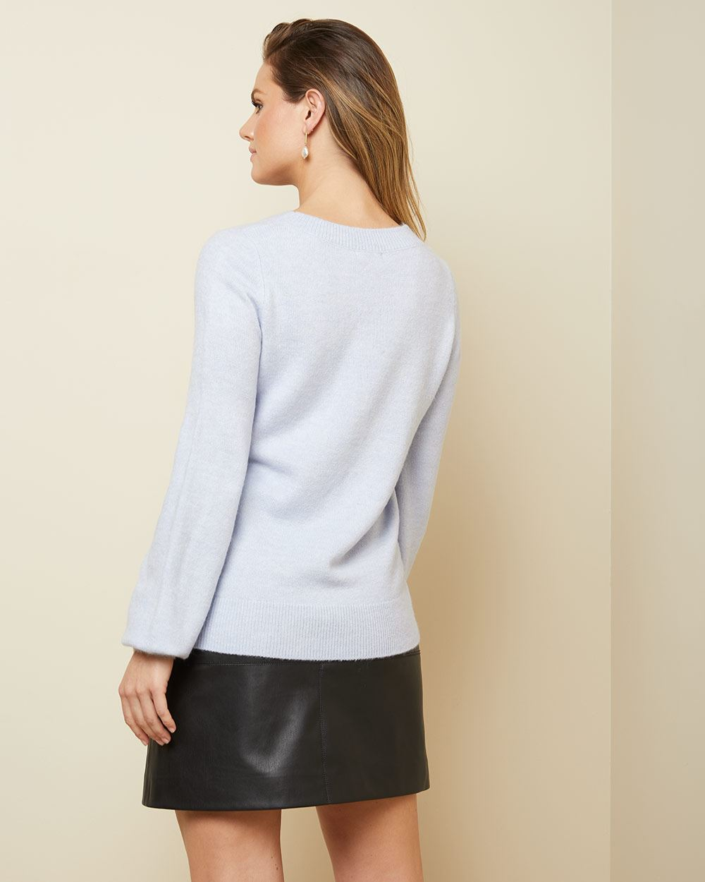Puffy Sleeve crystal-incrusted Sweater