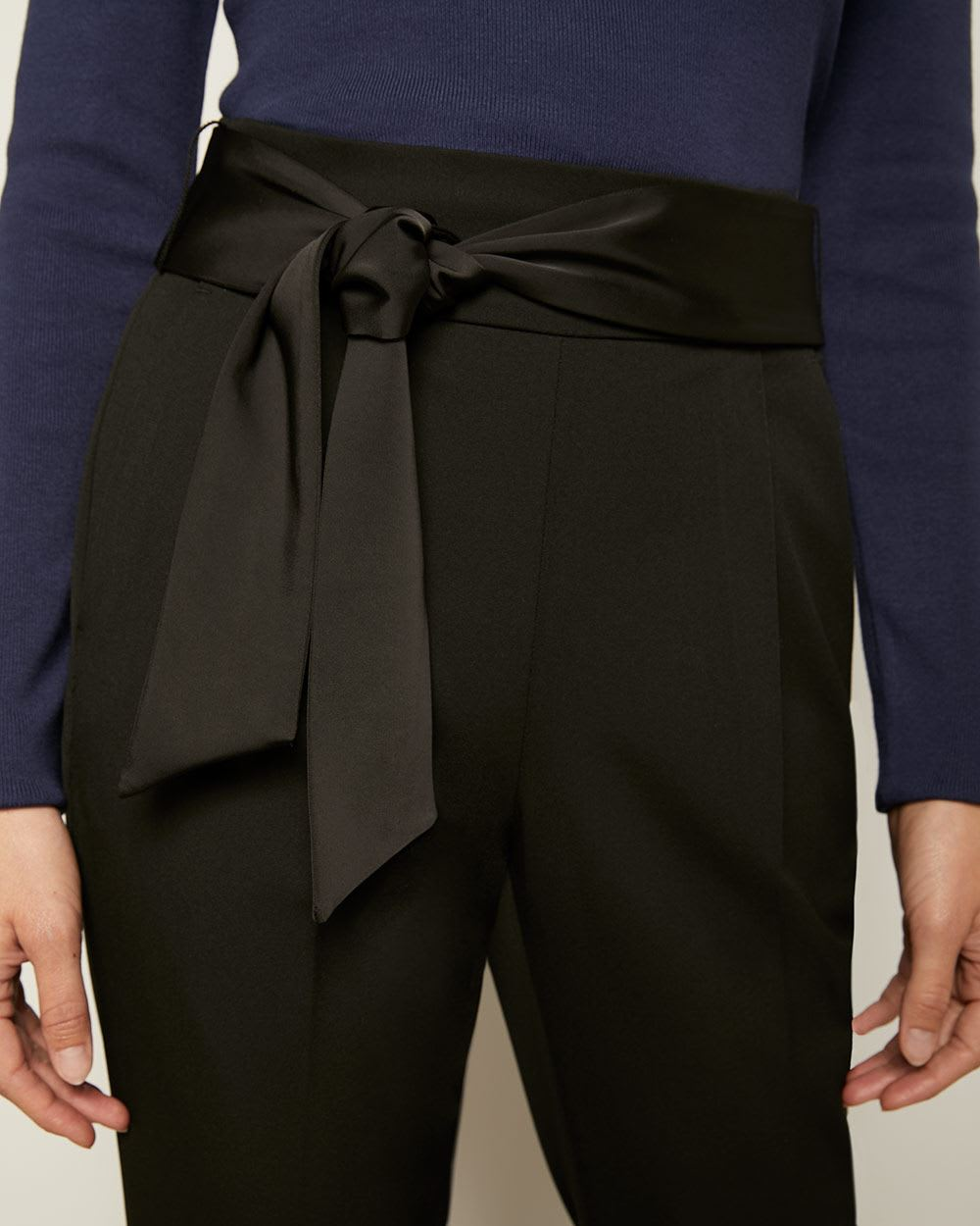 Black Ultra High-Waist Tapered Leg Pant with Satin Sash