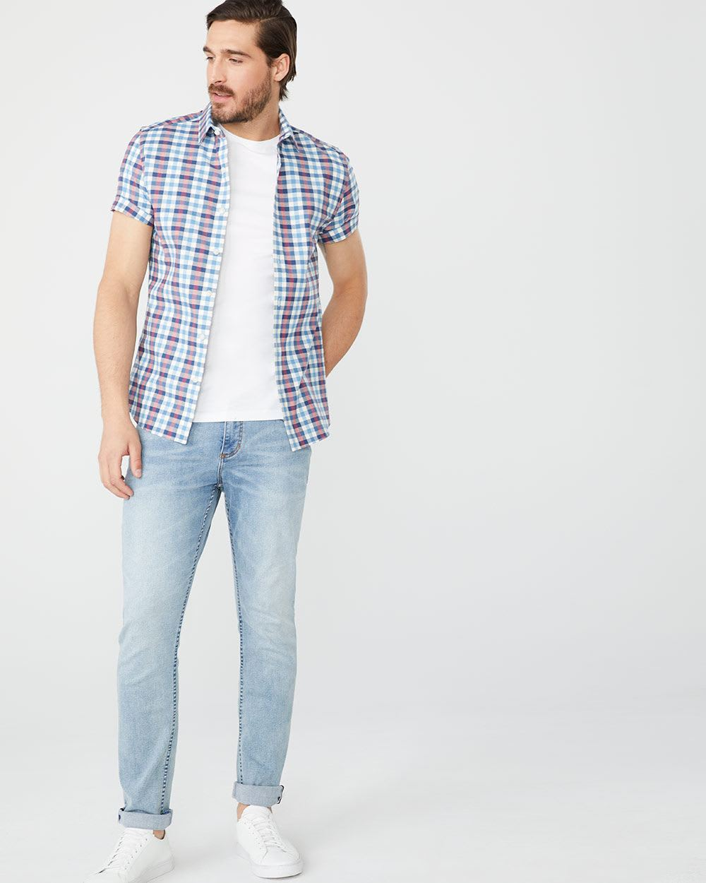 Slim Fit Short Sleeve stretch checkered Shirt