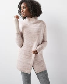 C&G Nep-yarn Cardigan with faux suede sleeves