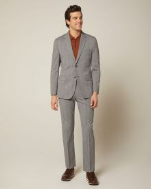 Tailored fit grey and yellow check pant