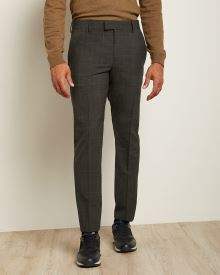Slim Fit Checkered Grey Traveler Pant