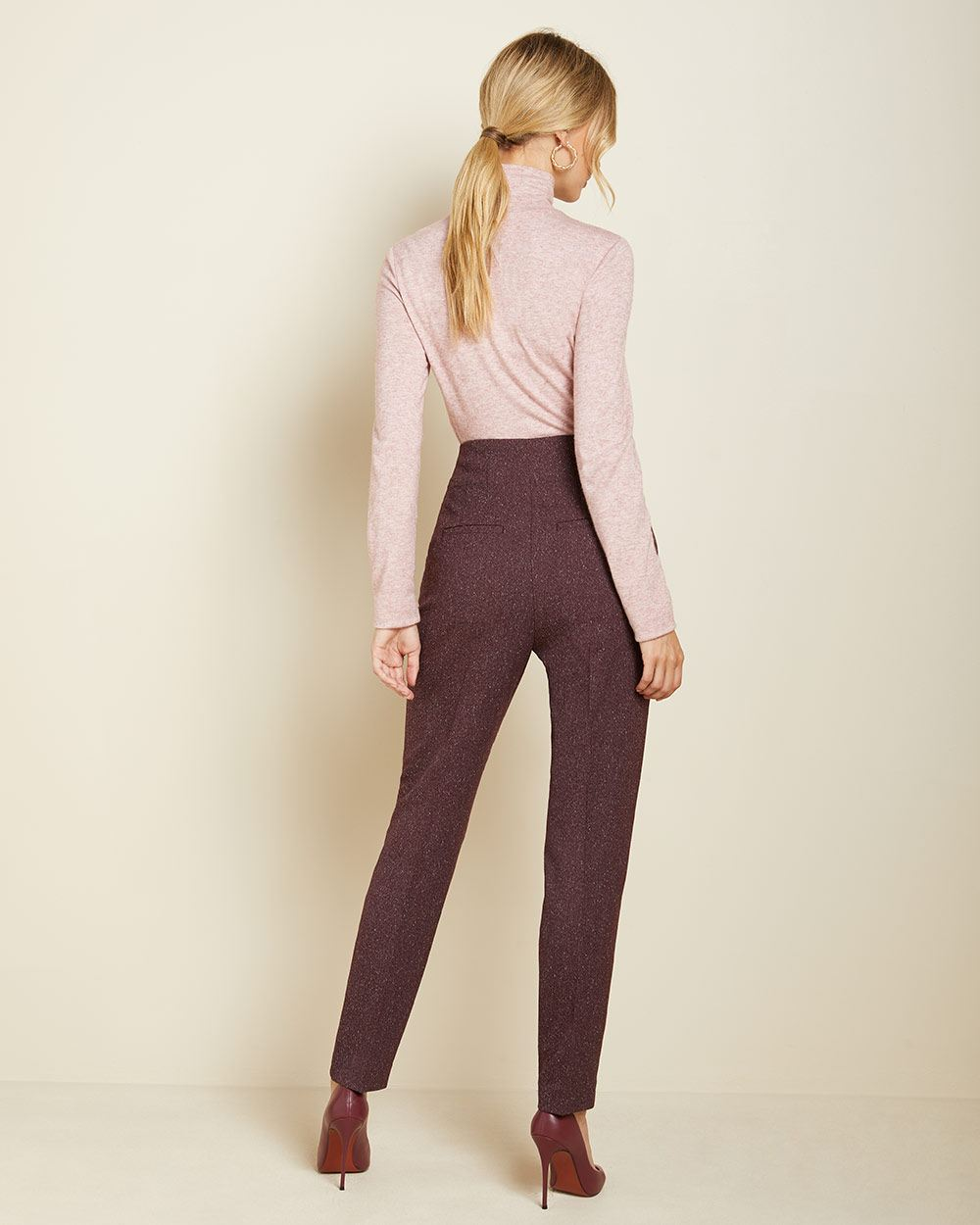 High-waist Dark Burgundy tweed pleated pant with buttoned waist