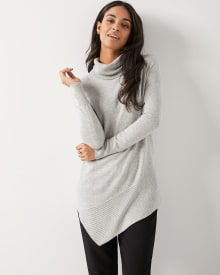 C&G Asymmetrical cowl-neck tunic sweater