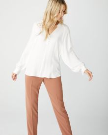 Puffy sleeve popover blouse