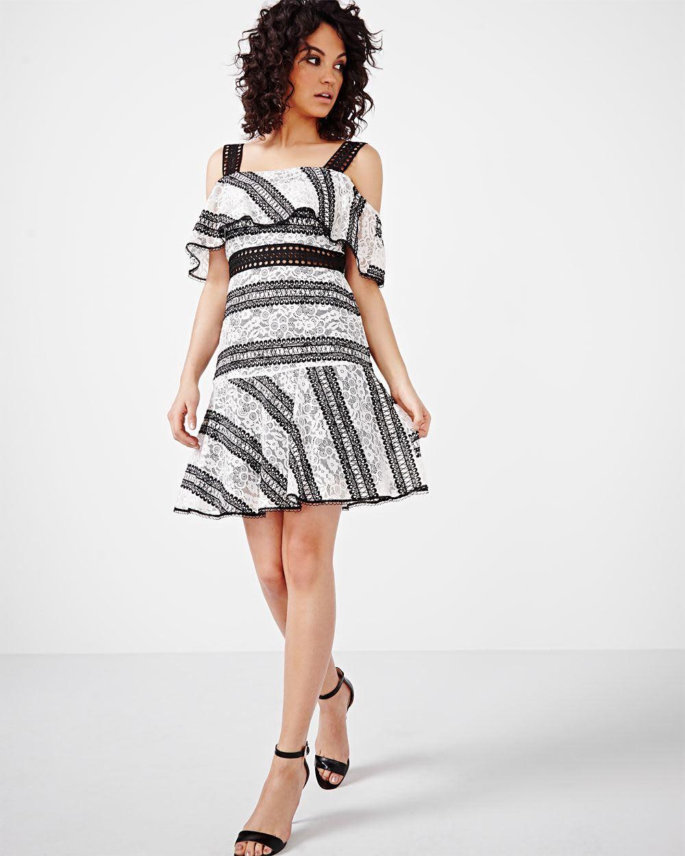 ABS by Allen Schwartz Ruffle Lace Drop Waist Dress | RW&CO.