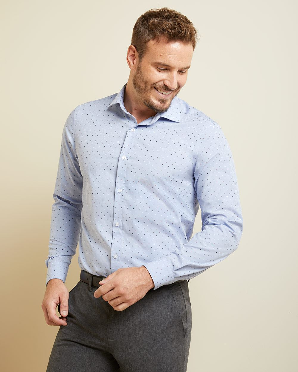 Athletic Fit clipping dot light blue Dress Shirt