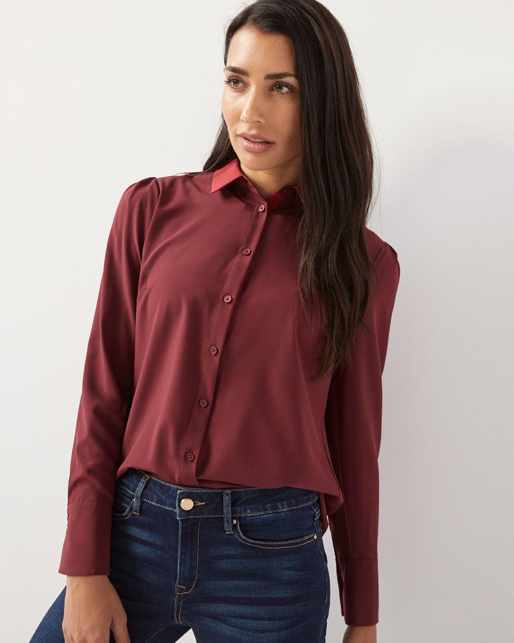 46af99422c47cf Long sleeve colour block button-down blouse