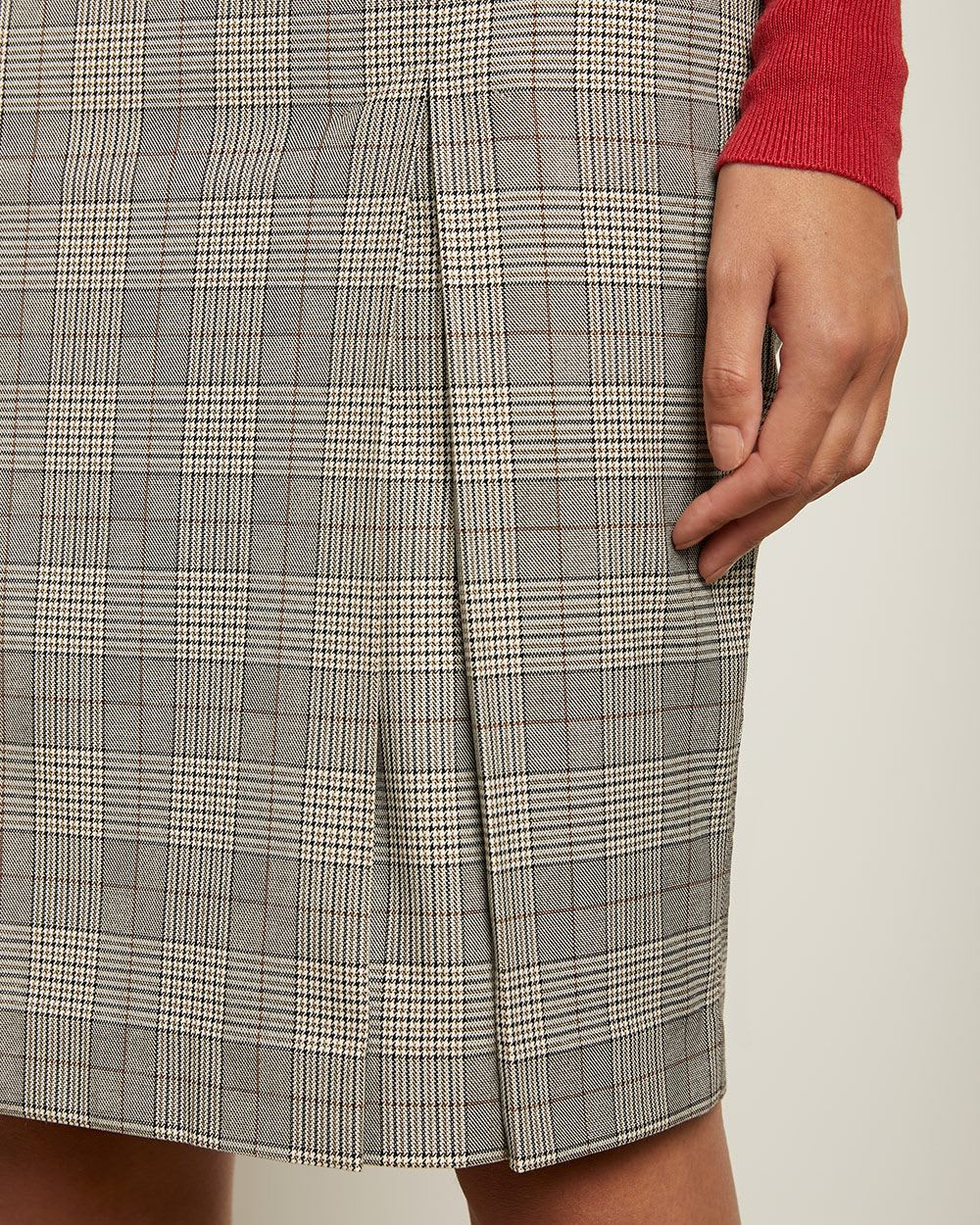 Grey Check High-Waist Pencil Skirt with Pleat