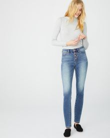 High-rise button-front Skinny vintage wash jeans