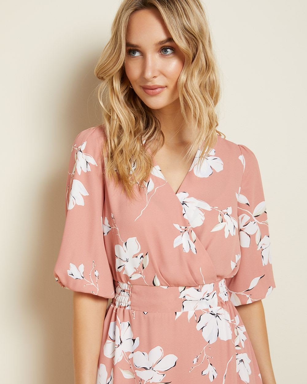Silky Crepe elbow sleeve Fit and Flare dress