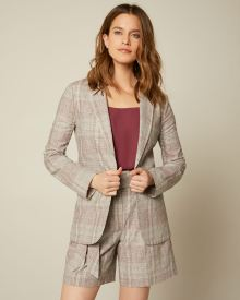 Long Fitted Plaid Linen Blazer
