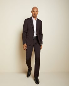Tailored Fit Dark Burgundy wool-blend Traveler suit pant