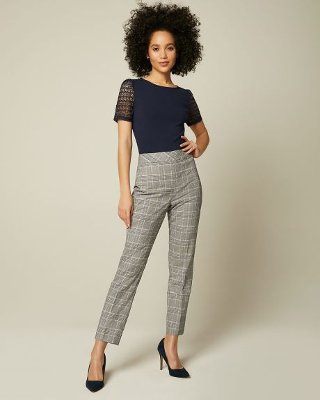 High-Waist Navy Plaid Signature Fit Slim Leg Ankle Pant