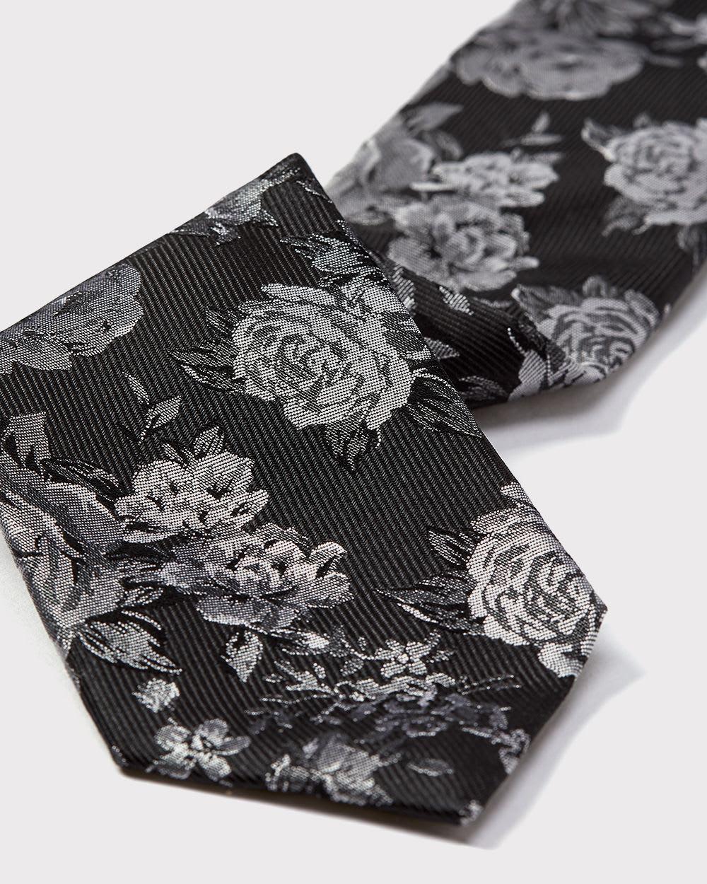 574b9b553b7d Regular black and white floral tie   RW&CO.