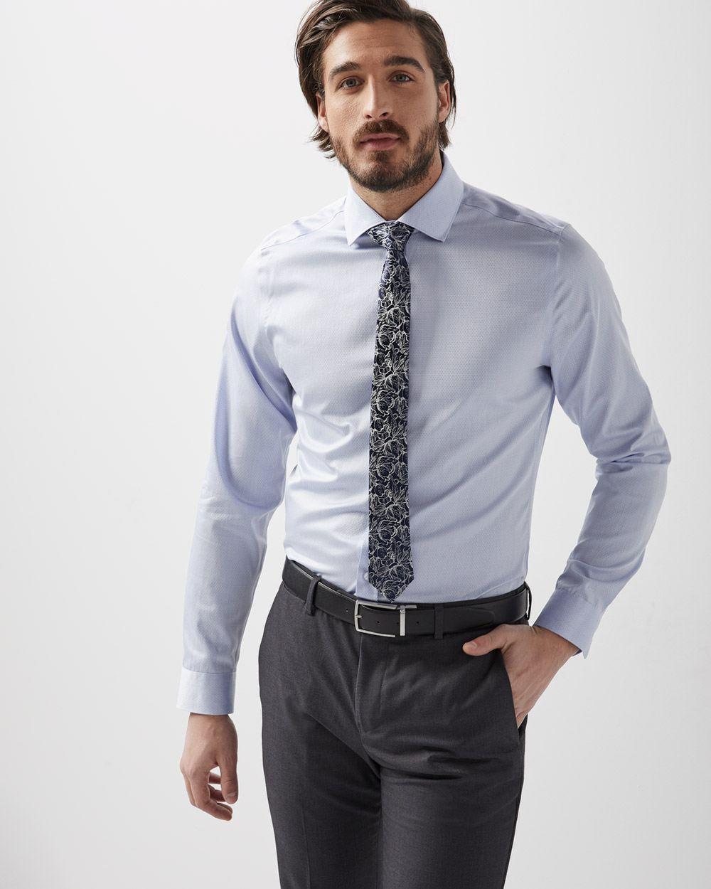 Slim Fit light blue micro dot dress shirt  26ec53d05