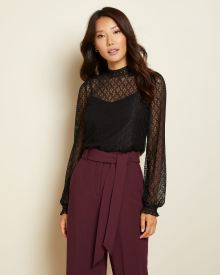 Puffy sleeve Lace mock-neck top