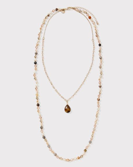 Long Beaded two-row necklace