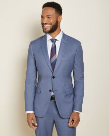 Tailored fit steel blue suit blazer