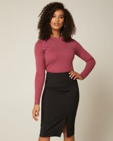 Long sleeve ribbed mock-neck sweater