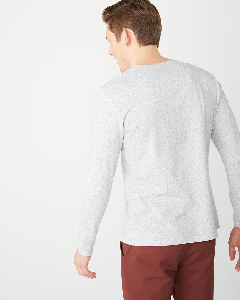 Long sleeve henley nep t-shirt
