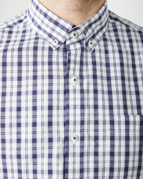 Tailored Fit Short Sleeve blue check Shirt