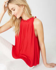 Pleated silky crepe halter top