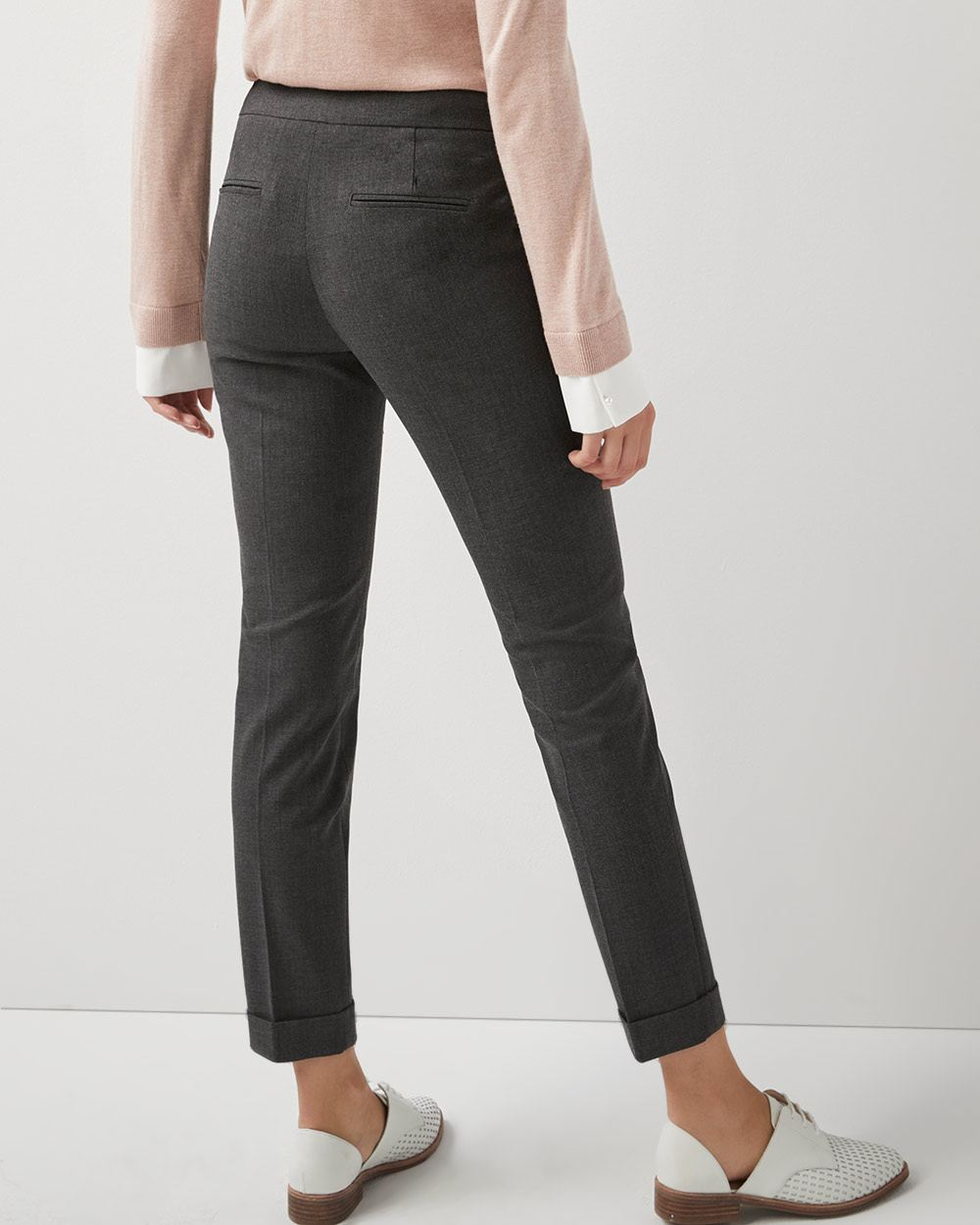 Heather grey Stretch Signature fit Slim leg cuffed Ankle Pant