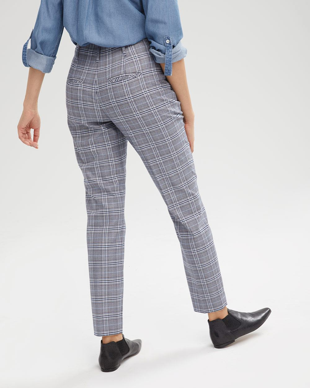 High-Waist Plaid Tapered Pant