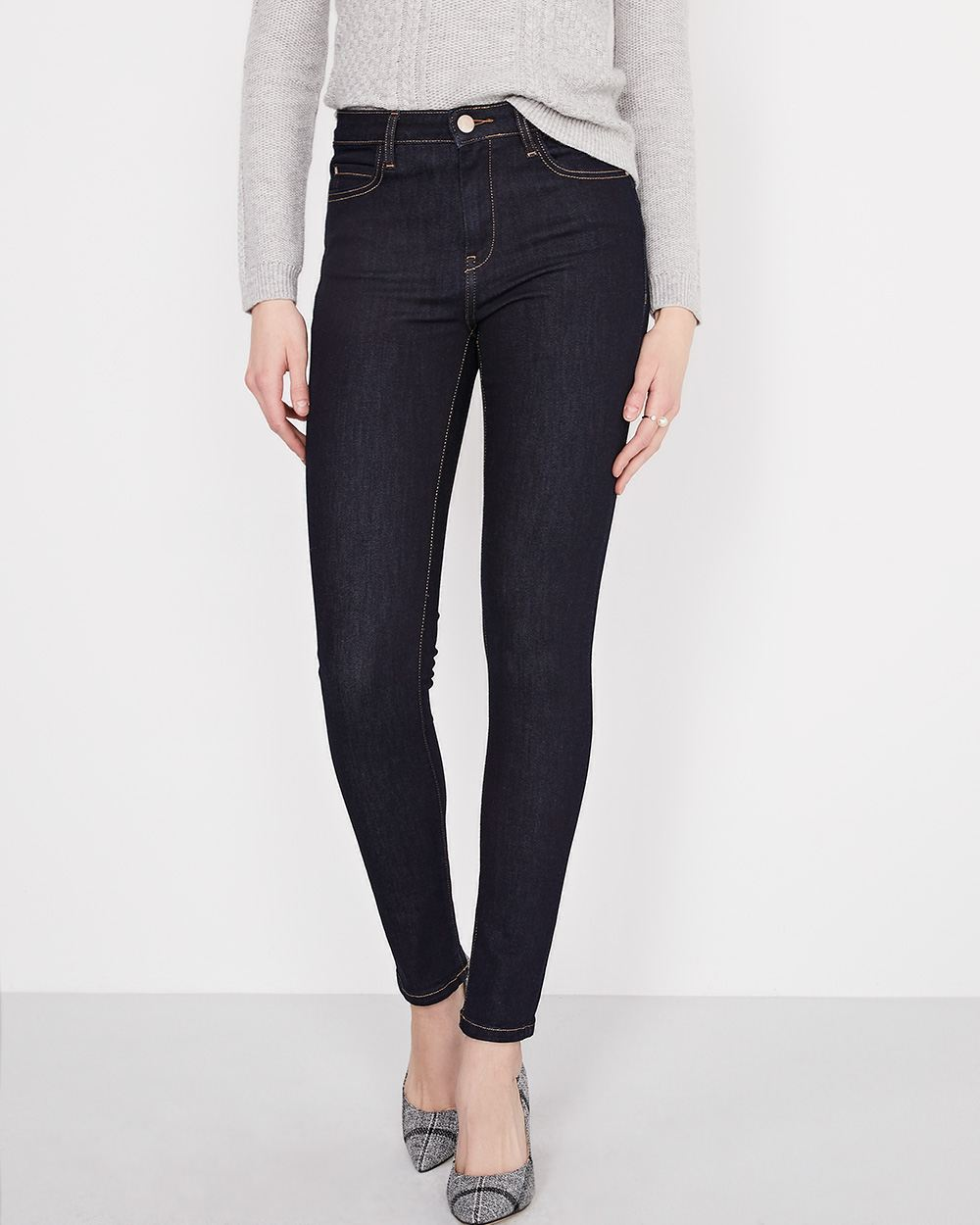 High-rise extreme 360 stretch dark blue wash skinny jeans