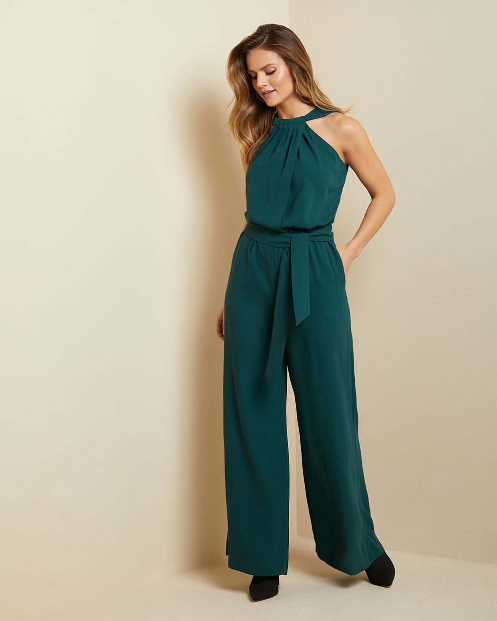 Pleated halter-neck belted jumpsuit